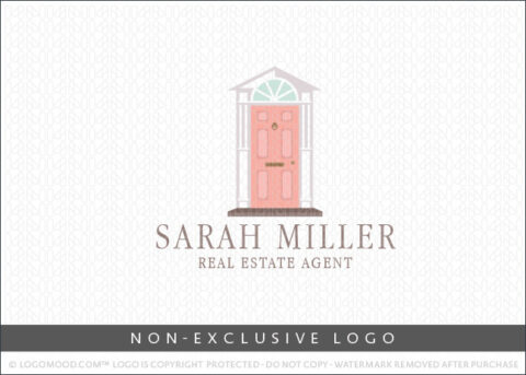 Modern Contemporary Pink Front Door Real Estate Non-Exclusive Logo For Sale LogoMood
