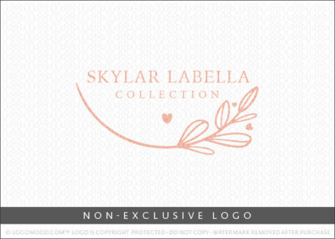 Minimal Floral Branch & Hearts Non-Exclusive Logo For Sale LogoMood