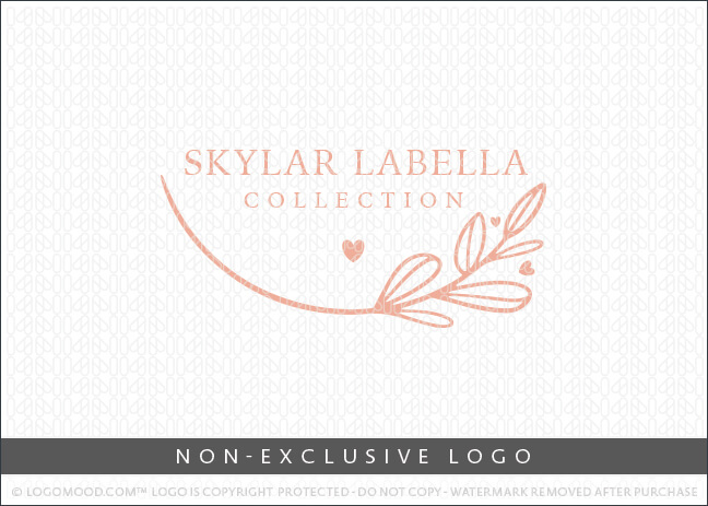 Minimal Floral Branch & Hearts Logo – Non Exclusive Logo