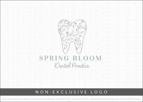 Spring Bloom Dental Tree Tooth Dentist Non-Exclusive Logo For Sale LogoMood