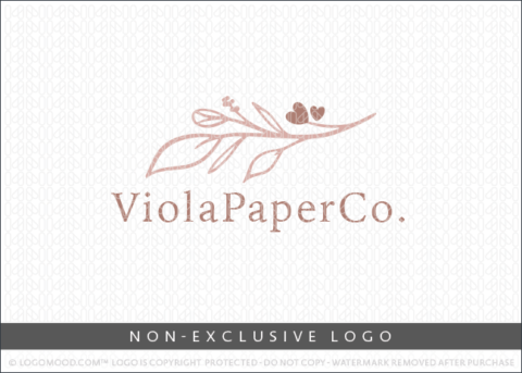 Viola Paper Co Floral Heart Blooms Non-Exclusive Logo For Sale LogoMood
