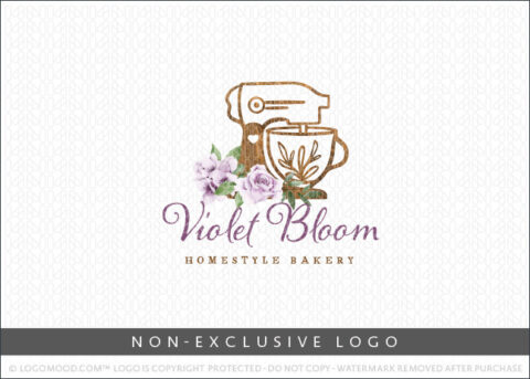 Bakery Wooden Stand Mixer Violet Florals Non-Exclusive Logo For Sale LogoMood