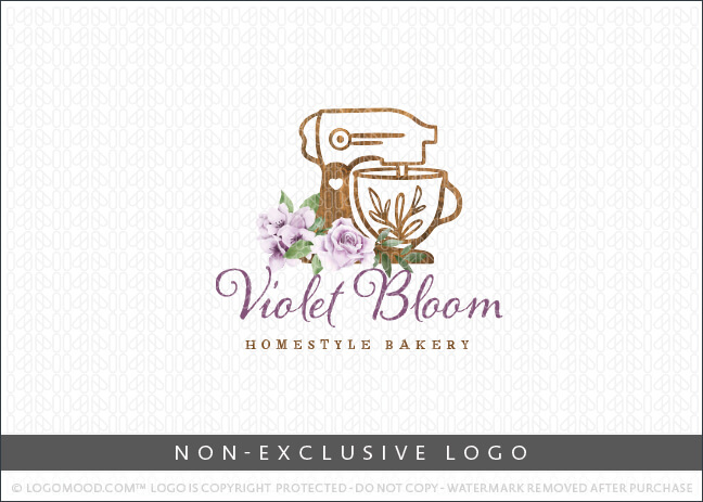 Bakery Wooden Stand Mixer Violet Florals – Non Exclusive Logo