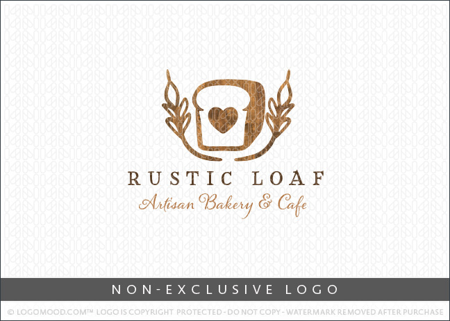 Wooden Loaf of Bread Artisan Bakery Non-Exclusive Logo For Sale LogoMood