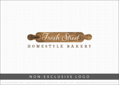 Country Style Bakery Rustic Wooden Rolling Pin Non-Exclusive Logo For Sale LogoMood