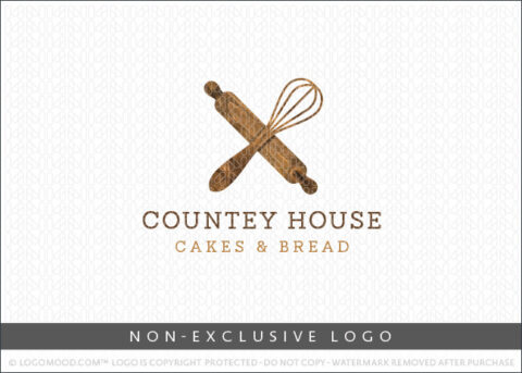 Country Style Bakery Rustic Wooden Whisk and Rolling Pin Non-Exclusive Logo For Sale LogoMood