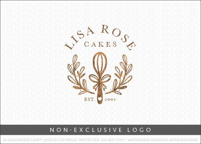Wooden Whisk Wreath Bakery Non-Exclusive Logo For Sale LogoMood