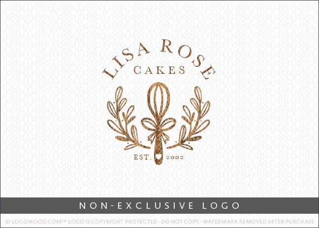 Wooden Whisk & Wreath Bakery Logo
