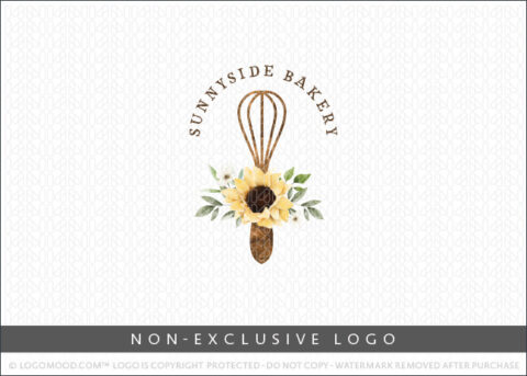 Watercolor Country Style Bakery Rustic Wooden Whisk Sunflower Non-Exclusive Logo For Sale LogoMood