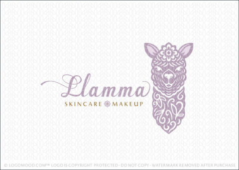 Folk Art Style floral Purple Llama Logo For Sale Logo Mood.com
