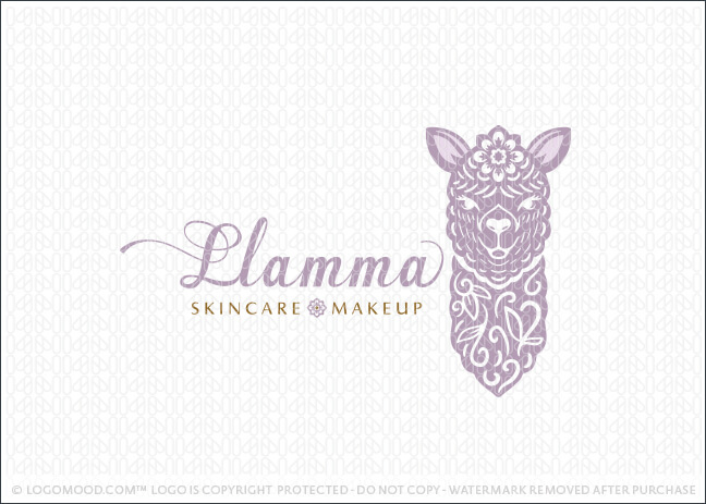 Folk Art Style floral Purple Llama Logo For Sale Logo Mood.com