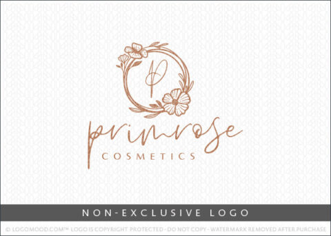 Floral Line Drawn Natural Monogram Wreath Non-Exclusive By LogoMood.com