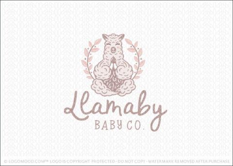 Cute Llama Animal in a yoga meditation pose Logo For Sale LogoMood.com