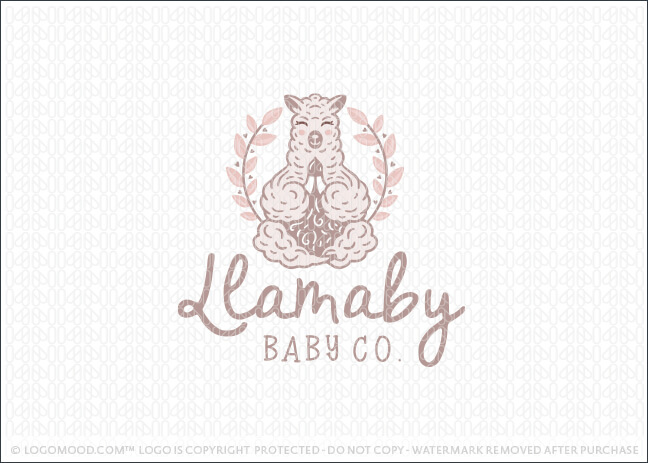 Cute Llama Animal in a yoga meditation pose Logo For Sale LogoMood.com