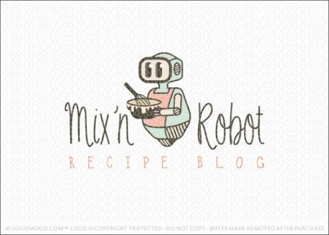 Vintage Cooking Robot Recipe Blog Logo For Sale LogoMood