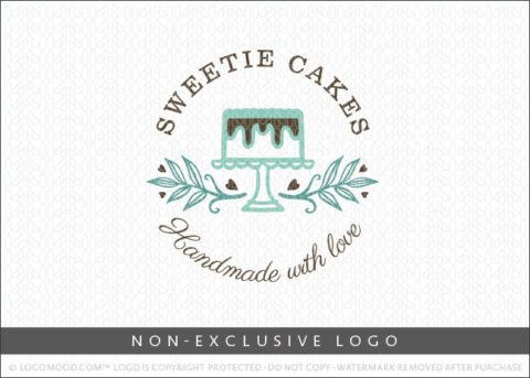Sweetie Cakes Natural Cake Bakery Shop Logo Non-Exclusive Logo By LogoMood.com