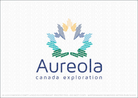 Aureola Northern lights Canadian Maple Leaf Landscape Exploration Exclusive Logo For Sale
