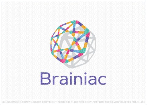 Modern Abstract Brain Logo For Sale