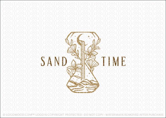 Elegant Botanical Garden River and Moutain Hourglass Logo For Sale LogoMood.com