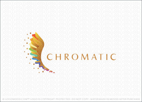 Bright Colourful Rainbow Golden Wing Logo design For Sale LogoMood.com