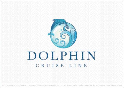 Elegant Dolphin Water Waves & Bubble Logo For Sale Logo Mood.com