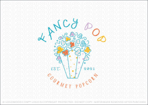 Fun Whimsical 7 Bright Popcorn Bag Logo For Sale Logo Mood.com