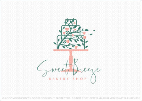 Pink Blooming Floral Three Tier Cake Bakery Logo For Sale Logo Mood.com
