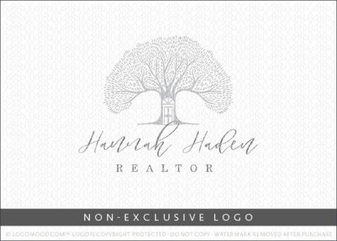 Natural Tree House Door Real Estate Non-Exclusive Logo For Sale LogoMood