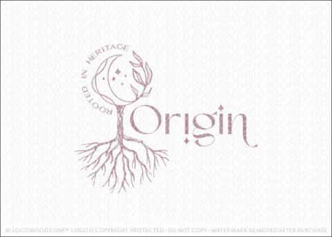 Origin Moon Tree & Roots Logo For Sale By LogoMood.com