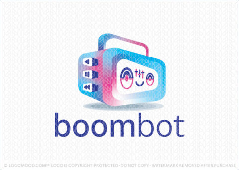 Boom Bot Robot Music Ready Made Logo For Sale Logo Mood