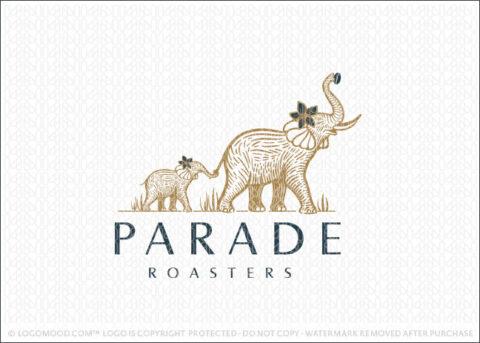 Mother & Baby Elephant Sketch Illustration Logo For Sale LogoMood.com