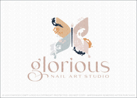 Glorious Abstract Modern Butterfly Nail Art Readymade Logo For Sale Logo Mood