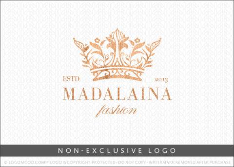 Regal Floral Royal Crown Faux Copper Non-Exclusive Logo For Sale LogoMood